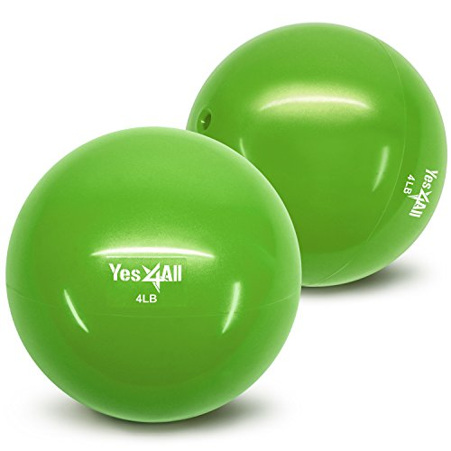 Yes4All Soft Weighted Toning Ball/Medicine Sand Ball - Great for Exercise, Workout - Soft Weighted Ball (4 lbs, Green) - Total Weight: 8 lbs (Pair)