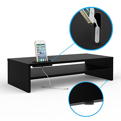 41uhtgK3A3L - 1home Wood Monitor Stand TV PC Laptop Computer Screen Riser Desk Storage 2 Tier Black, W540 x D255 x H142mm (with Smartphone Holder and Cable Management)