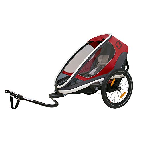 Hamax Outback Multi-Sport Child Bike Trailer + Stroller +Jogger, Scandinavian Safety & Design (One Seat, Red/Black)