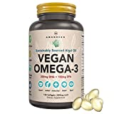 Premium Vegan Omega-3 Algal Oil Supplement. Rich in DHA + EPA Essential Fatty Acids. Marine Algae Alternative to Fish Oil! Supports Healthy Joints, Heart, Skin, Brain, Eyes, Immune & Prenatal Health.