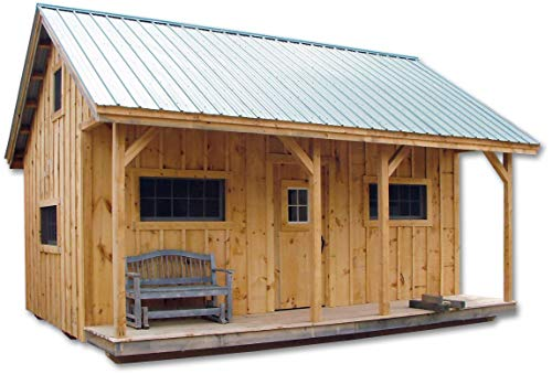 Pre-Cut Kit - 16x20 Timber Frame Post and Beam Vermont Cottage (A) with Loft Pre-Cut Kit with Step-by-Step DIY Plans
