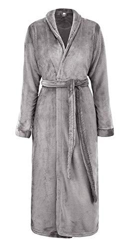 Simplicity Unisex Plush Spa Hotel Kimono Bath Robe Bathrobe Sleepwear Steel Grey, One Size