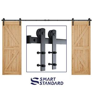 SMARTSTANDARD 12ft Heavy Duty Double Door Sliding Barn Door Hardware Kit -Smoothly and Quietly -Easy to Install…