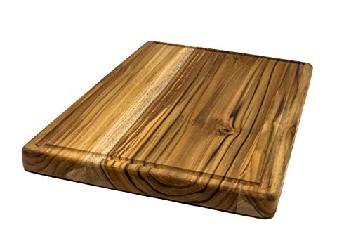 Large Reversible Teak Wood Cutting Board with Juice Groove - Hardwood Chopping Block and Serving Tray (17x11x1 Inches)