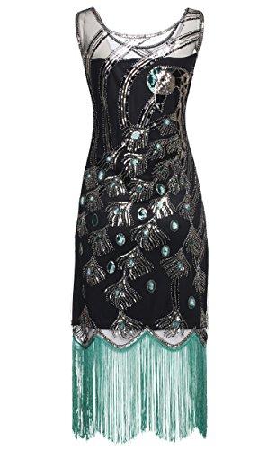 0d0c6838df BABEYOND 20 s Vintage Peacock Sequin Fringed Party Flapper Dress ...
