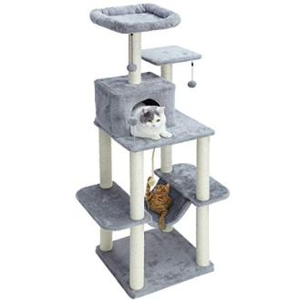 PAWZ-Road-60-Cat-Tree-Multilevel-Cat-Towers-with-Luxury-CondosFully-Wrapped-Sisal-Scratching-PostPlush-Hammock-and-Dangling-Balls