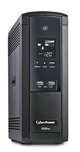 CyberPower BRG1500AVRLCD Intelligent LCD UPS System, 1500VA/900W, 12 Outlets, AVR, Mini-Tower, 5-Year Warranty