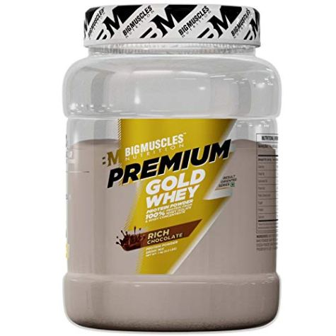Bigmuscles Nutrition Premium Gold Whey 1Kg[Rich Chocolate], Whey Protein Isolate & Whey Protein Concentrate, 25g Protein Per Serving, 0g Sugar, 5.5g BCAA & 4g Glutamic Acid