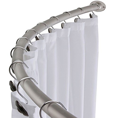 58' - 72' Adjustable Curved Shower Curtain Rod - Satin Nickel