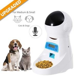 Automatic Cat Feeder Pet Food Dispenser Feeder Medium Large Cat Dog——4 Meal, Voice Recorder Timer Programmable,Portion Control