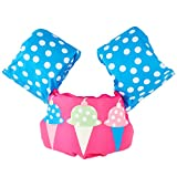 Swimming Float Vest for Kids, Swim Training Jacket Arm Bands Kids 30-50 lbs for Girls and Boys (Ice Cream)