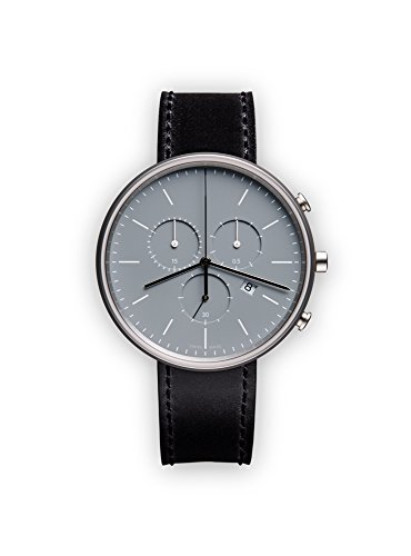 41uzVOGyJPL M40 chronograph watch in polished steel with black cordovan leather strap Swiss made Swiss-quartz Movement
