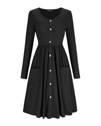Women's V Neck Button Down Skater Dress with Pockets