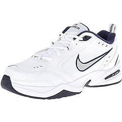 Nike Men's NIKE AIR MONARCH IV (4E) RUNNING SHOES -10.5; White / Metallic Silver-Midnight Navy