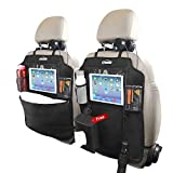 Oasser Kick Mats Car Seat Back Protectors Back of Seat Organizers 2 Pack XL with 1 Tissue Box Clear 10' Ipad Holder 3 Large Storage Organizers