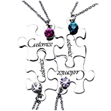 Fanery Sue Personalized Friendship Necklace for 4 - Matching Puzzles Custom Engraved Name Necklace Dog Tag,Choose Your Birthstone(Set of 4 Nekclaces)