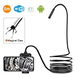 DEPSTECH 1200P Wireless Endoscope, 2.0 MP HD WiFi Borescope Inspection Camera, 16 inch Focal Distance Snake Camera with Phone Holder and Magical Claw for Android & iOS Smartphone Tablet -16.5FT