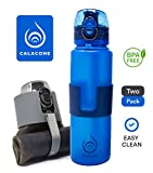 Collapsible Water Bottles - 2 Pack - Leak Proof - BPA Free - 22 oz - Easy to Clean - Foldable Travel, Yoga, Hiking, Fitness, Sports, Outdoors & Commuting Water Bottles
