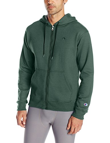 Champion Men's Powerblend Full-Zip Hoodie, Dark Green, Small