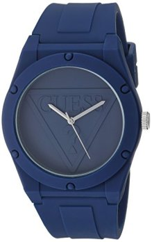 GUESS Quartz Rubber and Silicone Casual Watch, Color:Navy (Model: U0979L4)