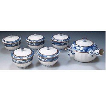 Kiyomizu-kyo yaki ware. Set of Japanese yunomi teacup and kyusu teapot obisansui with wooden box. Porcelain. kymz-JIN132