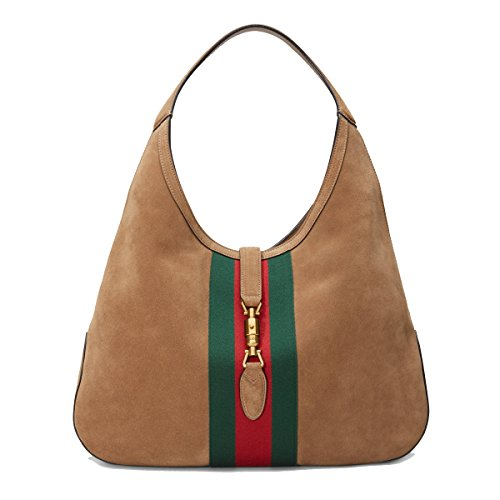 "41vKakvGV8L Soft Brown Suede, Red and Green Web Stripe, Gucci Engraved Piston Strap Closure Attached Zipper Pouch, Single Strap with a 9.4"" Drop, Measures 16.9"" x 12.2"" x 2.3"" Lined in Suede, Interior ""Gucci"" Leather Tab, Interior Serial Number"