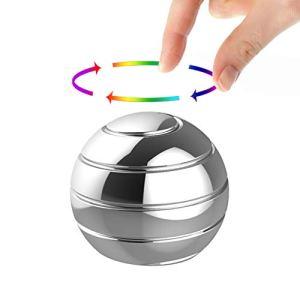 Manzelun-Kinetic-Desk-ToysFull-Body-Optical-Illusion-Fidget-Spinner-BallGifts-for-MenWomenKids-Small-Silver