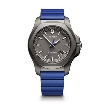 Victorinox Swiss Army Men's I.N.O.X. Titanium Swiss-Quartz Watch with Rubber Strap, Blue, 21 (Model: 241759)