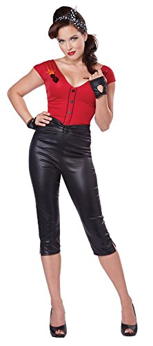 California Costumes Women's Hot Rod Honey Sexy 50's Pin Up Costume, Red/Black, X-Large