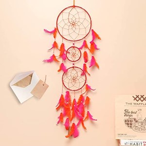 ILU ® Feathers Dream Catcher with Lights, Wall Hangings, Crafts, Home Decor, Handmade for Bedroom, Balcony, Garden, Party, Cafe, Decoration, Wedding, Decorative (Orange & Pink, 17 cm Diameter)