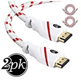 HDMI Cable 6 ft - 2 Pack - High Speed 4K Resolution UHD 2.0b Ready - Supports Ethernet Ultra HDR Video HD Bandwidth 18Gbps - Audio Return Channel - HDCP 2.2 Compliant - 6 Feet (1.8 Meters) HDMI Cord