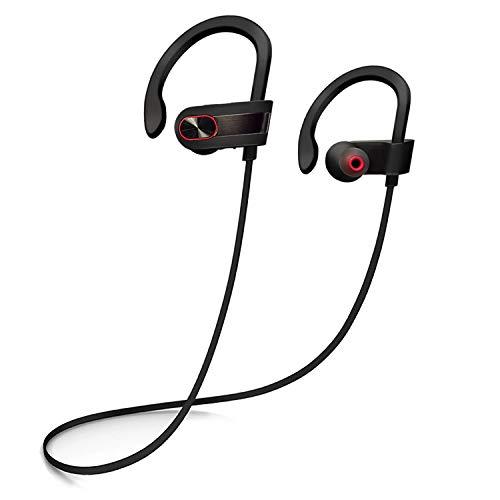 Siretek Bluetooth Headphones, Wireless Sport Earbuds w/ Mic IPX7 Waterproof Sweatproof Noise Cancelling HD Stereo Earphones for Gym Running Workout (Brushed Black Metallic)