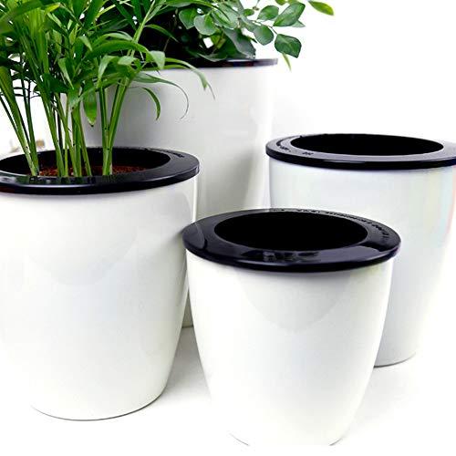Mkono 3 Pack Self Watering Planter White Flower Pot, M