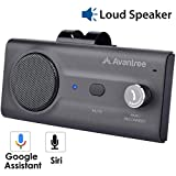 Avantree CK11 Hands Free Bluetooth for Cell Phone Car Kit, Loud Speakerphone, Siri Google Assistant Support, Motion AUTO ON, Volume Knob, Wireless in Car Handsfree Speaker with Visor Clip - Titanium