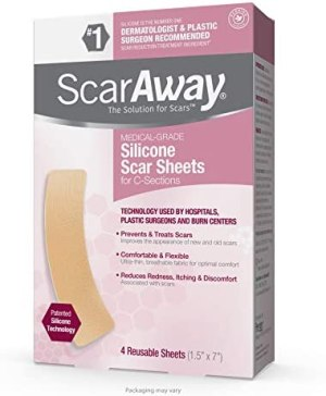 """ScarAway Advanced Skincare Silicone Scar Sheets for C-Sections, Reusable Sheets (1.5"""" x 7"""") for Hypertrophic and Keloid Scars from Injury, Burn, Surgery and more, 4 Sheets"""