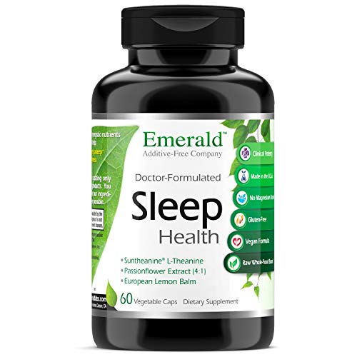 Sleep Health - with Suntheanine, L-Theanine & Passionflower Extract - Promotes Nighttime Calmness, Relaxation, Restful Sleep - Emerald Labs - 60 Vegetable Capsules