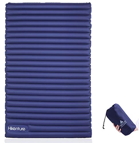 HIKENTURE Double Sleeping Pad - 2 Person Camping Mattress Inflatable Air Mat with Built-in Foot Pump - Light and Compact - for Backpacking, Self-Driving Tour, Hiking,Tent (Navy Foot Pump)
