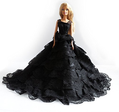 Barbie Romantic Ball Gown Strapless Layers of Organza Black Dress
