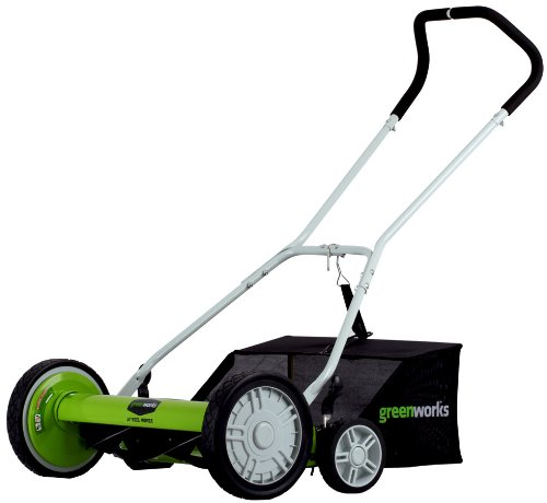 Greenworks 18-Inch Reel Lawn Mower with Grass Catcher 25062