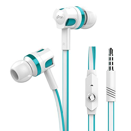 pTron HBE5 Raptor (High Bass Earphones) in-Ear Stereo Wired Headphones with Mic - (White and Blue) 226