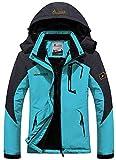GEMYSE Women's Mountain Waterproof Ski Jacket Windproof Rain Jacket(Black,S)