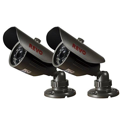 REVO America RCBS30-2ABNDL2 660 TVL Indoor/Outdoor Bullet Surveillance Camera with 80-Feet Night Vision (Gray), 2- Pack