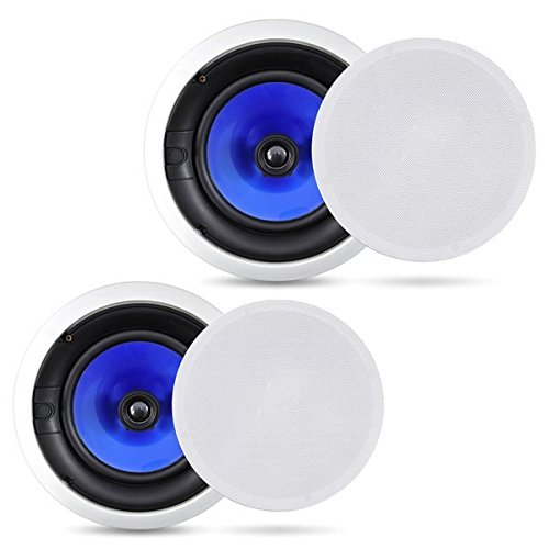 2-Way In-Wall In-Ceiling Speaker System - Dual 6.5 Inch 250W Pair of Hi-Fi Ceiling Wall Flush Mount Speakers w/ 1' Silk Dome Tweeter, Adjustable Treble Control - For Home Theater Entertainment - Pyle PIC6E