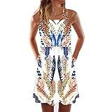 WEISUN Vintage Dress Women Boho Sleeveless Beach Dress Summer Printed Short Mini Dress Coffee