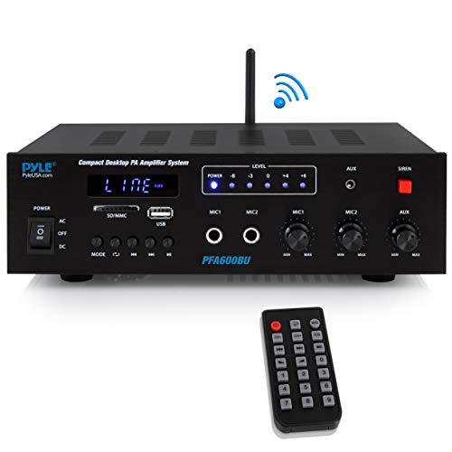 Wireless Bluetooth Karaoke Amplifier - 300 Watts 2 Channel  Digital Home Audio PA Receiver System 2 Microphone Input Control, FM Radio, USB,12 Volt Power Option - Pyle PFA600BU