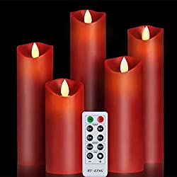 Flameless Candles Classic Pillar Real Wax Dancing Flame with 10-key Remote Control