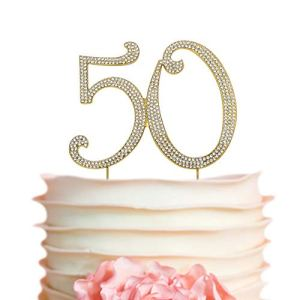 50 GOLD Cake Topper | Premium Sparkly Crystal Rhinestones | 50th Birthday or Anniversary Party Decoration Ideas | Perfect Keepsake (50 Gold) 41voDiChGYL