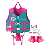 Zeraty Kids Swim Vest Life Jacket Swimming Aid for Toddlers with Arm Bands Floatation Sleeves Age 1-9 Years/22-50Lbs/Pink