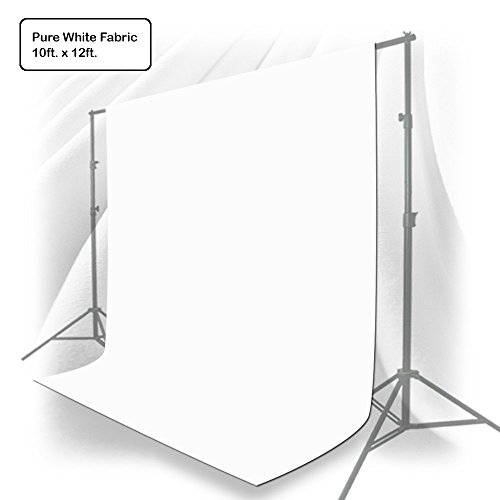 Julius Studio 10 x 12 ft. White Chromakey Photo Video Studio Fabric Backdrop, Background Screen, Pure White Muslin, Photography Studio, JSAG208
