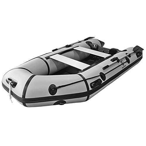 Outroad Inflatable Dinghy Fishing Boat 10 FT, Sport Tender Raft Deep Bottom and Trolling Motor Transom, 4 Person Seats w/Two Paddles -Gray